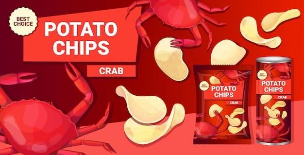 Patatine con aroma di granchio composizione pubblicitaria di patatine fritte naturali e imballaggi