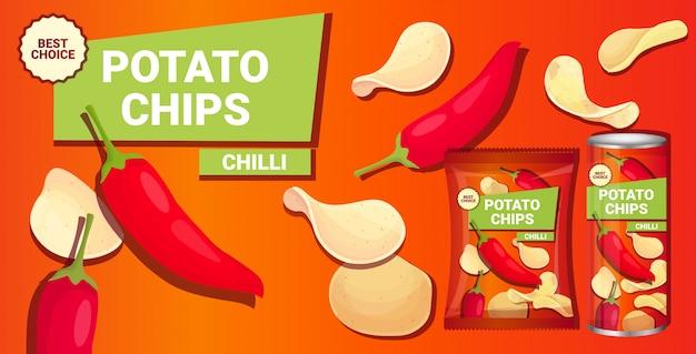 Patatine con aroma di peperoncino composizione pubblicitaria di patatine fritte naturali e confezioni