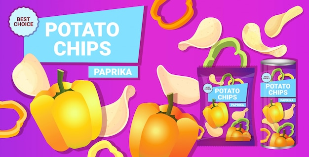 Patatine fritte con aroma di paprika composizione pubblicitaria di patatine e confezioni di patatine naturali