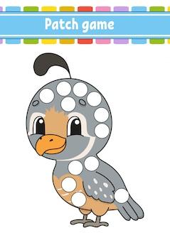 Patch game per bambini. fai una pagina da colorare punto. foglio di lavoro per attività educative per bambini e neonati.