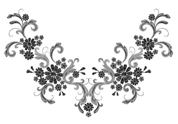 Patch simmetrica di moda ricamo bianco realistico di vettore. la margherita rosa del fiore lascia l'annata