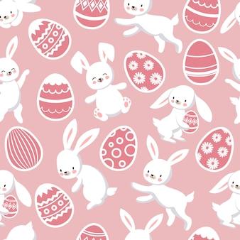 Patten senza cuciture felice di pasqua con i coniglietti di coniglietto sveglio del fumetto