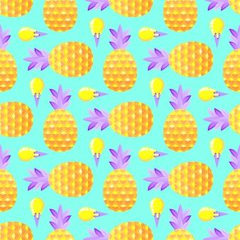 Pattern con ananas e gelato
