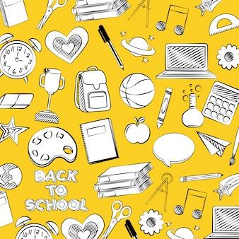 Pattern con basket, mela, vernice torna a scuola illustrazione