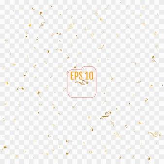 Pattern con note musicali d'oro su sfondo trasparente
