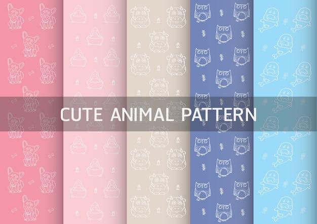 Pattern con simpatici animali come cani, anatre, gufi e leoni marini