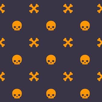 Pattern con teschio e ossa, sfondo scuro senza soluzione di continuità