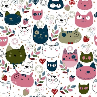 Pattern con teste di gatto sveglio