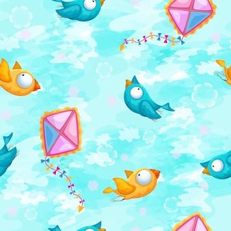 Pattern con uccelli divertenti e un aquilone su uno sfondo di cielo azzurro.