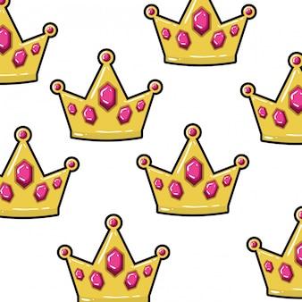 Pattern corona d'oro pop art