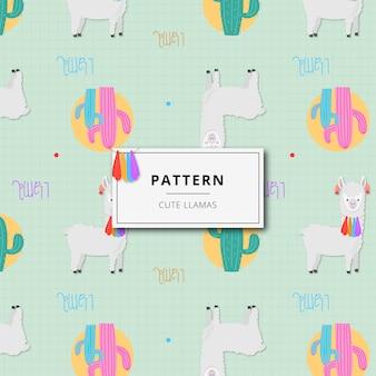 Pattern cute alpaca and cactus