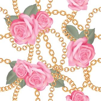 Pattern di sfondo con catene d'oro