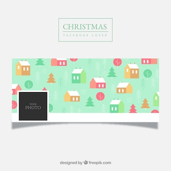 Patterned christmas facebook cover in turchese