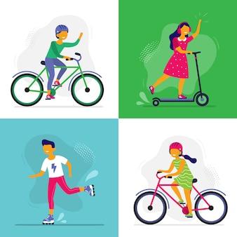 Pattinaggio per bambini. i bambini viaggiano in bici, pattini e scooter. bambini rollerblade, amici che guidano insieme illustrazione
