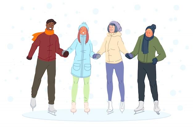 Pattinaggio su ghiaccio con ragazzi amici, intrattenimento invernale per ragazze, concetto di amicizia.