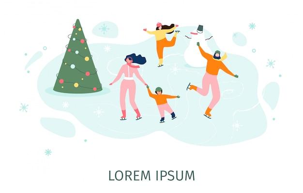 Pattinando con la famiglia sul concetto di vettore della pista di pattinaggio sul ghiaccio