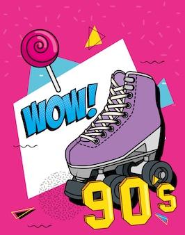 Pattino a rotelle degli anni novanta con espressione wow