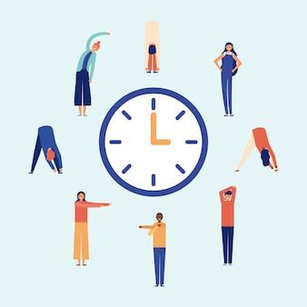Pausa attiva, esercizi di stretching, stile piatto