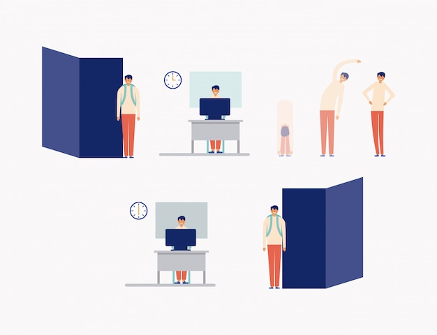 Pausa attiva in icone dell'ufficio, stile piano