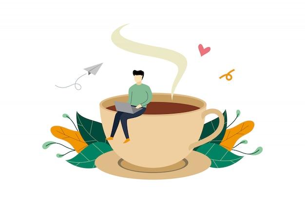 Pausa caffè, uomo seduto su un'enorme attività della tazza di caffè