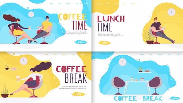 Pausa e tempo di riposo in office landing page set.