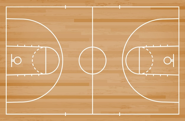 Pavimento del campo da pallacanestro con la linea modello su fondo di legno.