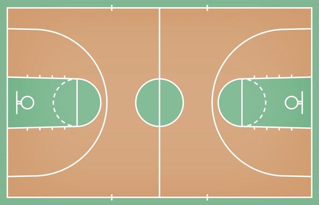 Pavimento del campo da pallacanestro con la linea sul fondo di legno di struttura