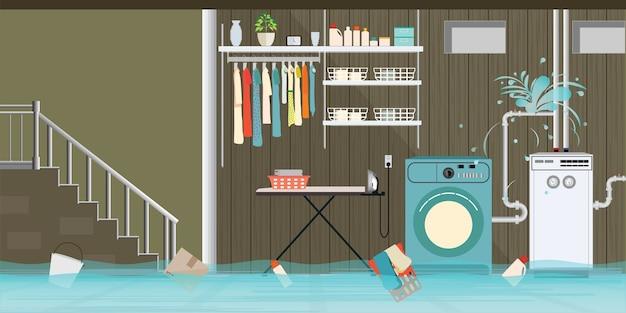 Pavimento seminterrato allagato interno della lavanderia.