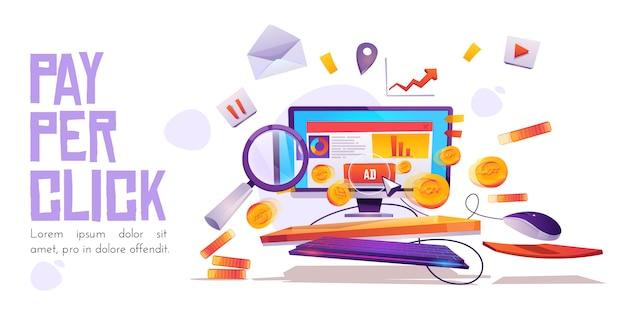Pay per click, desktop del computer con cursore