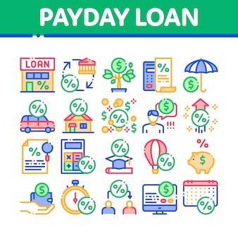 Payday loan collection set di icone degli elementi