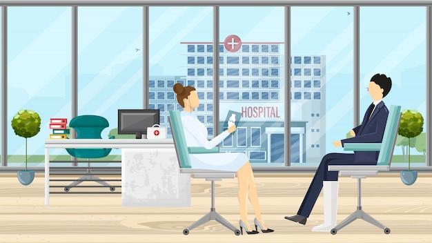 Paziente all'illustrazione di consultazione del medico