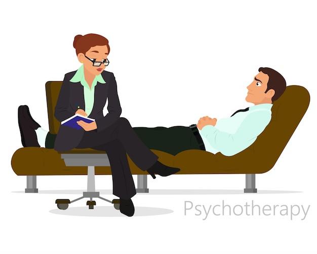 Paziente che parla con psicologo. consulenza in psicoterapia.