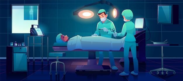 Paziente chirurgo plastico in sala operatoria