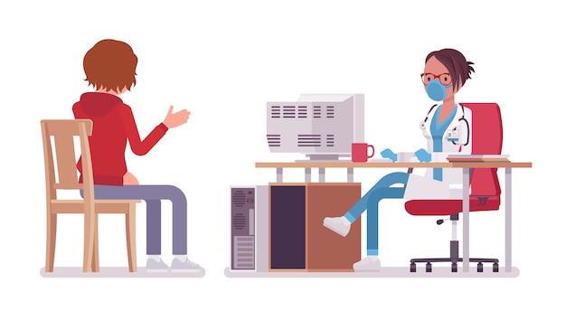 Paziente consultantesi di medico femminile terapista. donna del medico in uniforme dell'ospedale che accetta allo scrittorio. concetto di medicina e assistenza sanitaria. stile cartoon illustrazione, sfondo bianco