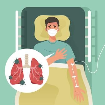Paziente coronavirus in ospedale. giovane con polmonite