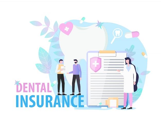 Paziente del dentista della donna del documento di carta di assicurazione dentale