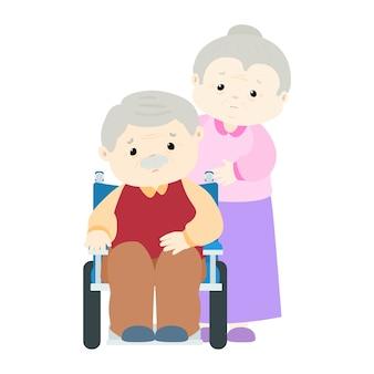 Paziente dell'uomo senior che si siede sulla sedia a rotelle