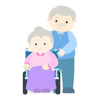 Paziente della donna senior che si siede sulla sedia a rotelle