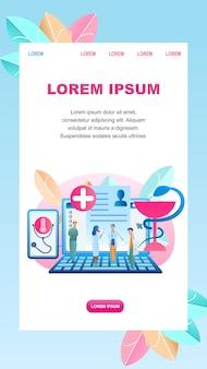 Paziente di diagnosi online illustrazione piatto