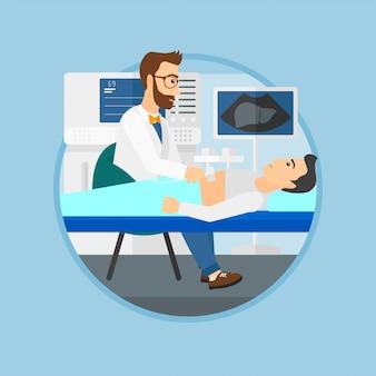 Paziente durante l'esame ecografico.