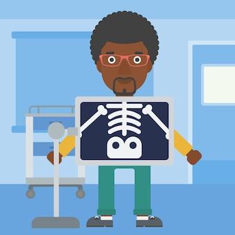 Paziente durante la procedura a raggi x.