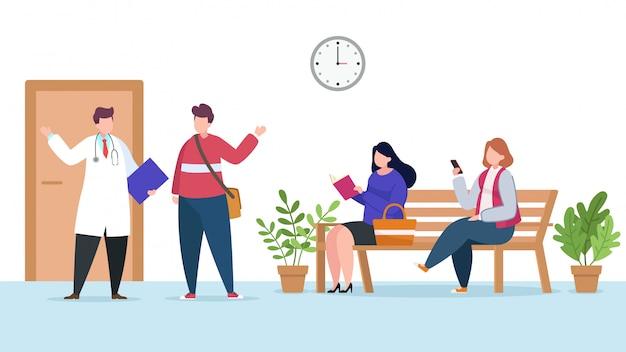 Pazienti che attendono l'illustrazione di appuntamento del medico