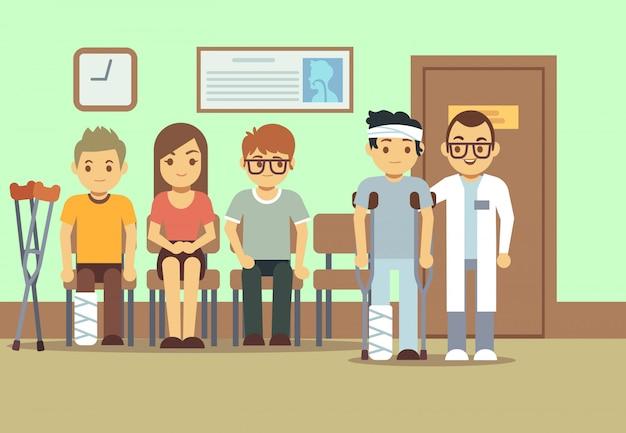 Pazienti in medici in sala d'attesa all'ospedale