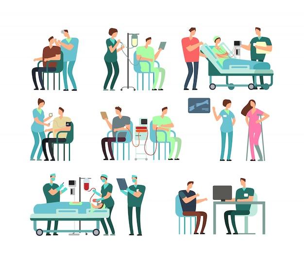 Pazienti uomini e donne con medici, personale medico e attrezzature. caratteri della gente nell'insieme di vettore dell'ospedale