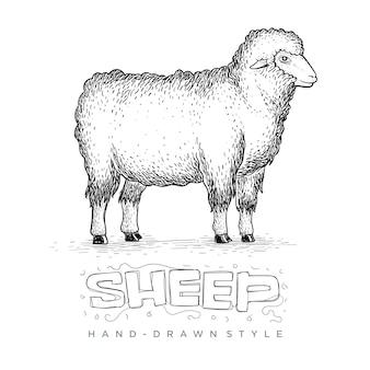 Pecora in piedi vista laterale alta, illustrazione di un animale disegnato a mano