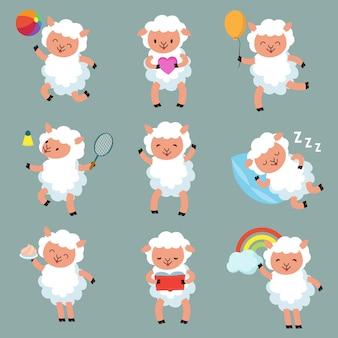 Pecore bambino carino caratteri di vettore di agnello lanoso cartone animato divertente
