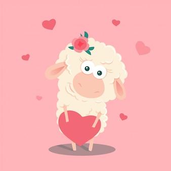 Pecore simpatico cartone animato con un cuore. illustrazione