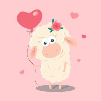 Pecore simpatico cartone animato con un palloncino.