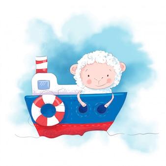 Pecore simpatico cartone animato su una barca.