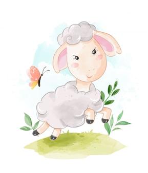Pecore sveglie che corrono sull'illustrazione del campo